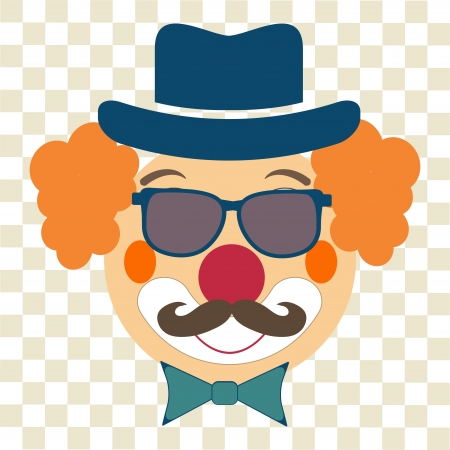 happy clown hipster  with hat, glasses and moustaches Vector