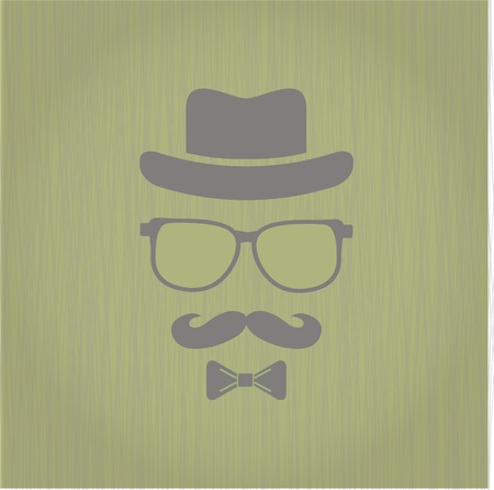 Hipsters hat, glasses, moustache stickers on texture background Vector