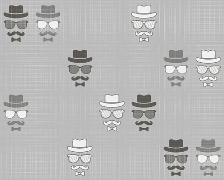 Hipsters hat, glasses, moustache seamless pattern photo
