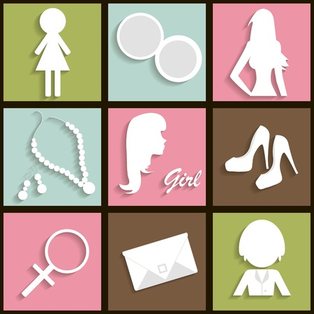 earing: Girls icons with long shadow Illustration