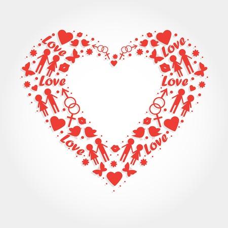 Heart With Love Symbols For Wedding Invitation Valentines