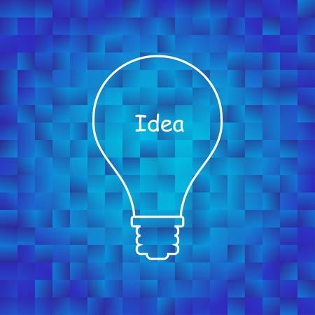idea generation: lightbulb icon symbol on blue background. the template represents idea generation,  creatity