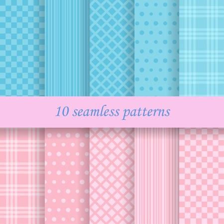 baby scrapbook: 10 vector seamless patterns. Endless texture can be used for wallpaper, pattern fills, web page background, cards, baby shower invitation etc