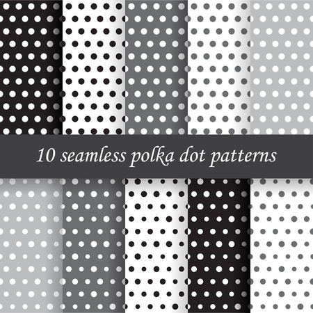 10 gray polka dot vector seamless patterns. Endless texture can be used for wallpaper, pattern fills, web page background, 向量圖像