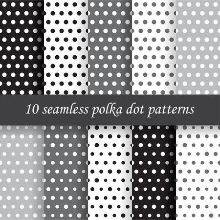 10 Polka grey dot vettore modelli senza soluzione. Tessitura Endless può essere utilizzato per carta da parati, riempimenti a motivo, sfondo della pagina web, Archivio Fotografico - 37267476