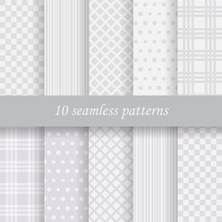 10 gray  vector seamless patterns. Endless texture can be used for wallpaper, pattern fills, web page background, 向量圖像