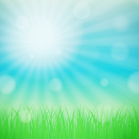 Spring background with blue sky and green grass. Bokeh and light  effect. 向量圖像