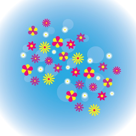 Spring background with blue sky, green grass, flowers, butterflies.
