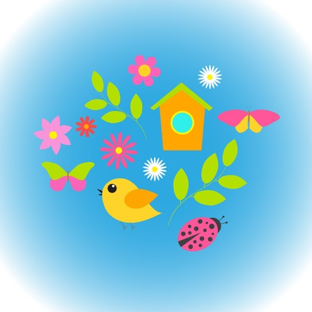 Spring background with  flowers, butterflies, birds.   向量圖像