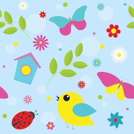 Spring pattern with  flowers, butterflies, birds.  Vector eps 10 Vector