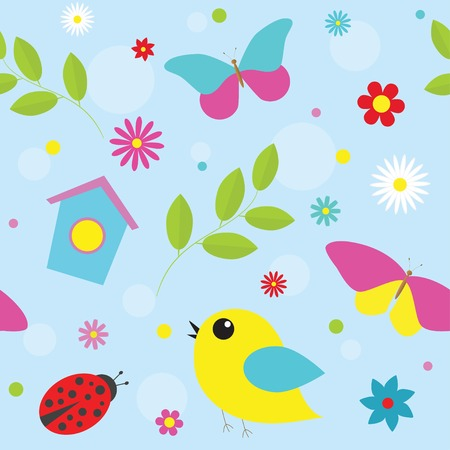 Spring pattern with  flowers, butterflies, birds.  Vector eps 10