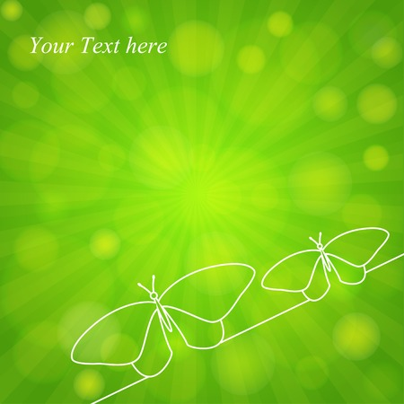 Spring green background with butterflies in line design.  Vector eps 10 向量圖像