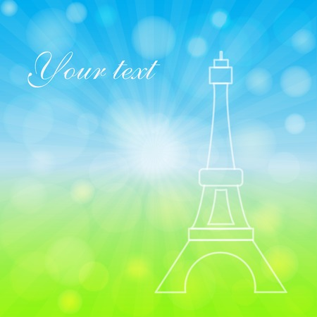 Spring background with Eifel Tower. Bokeh and light  effect.  向量圖像