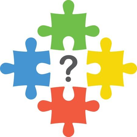 Puzzle con punto interrogativo Archivio Fotografico - 37267504
