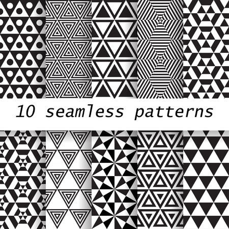 10 black and white  vector seamless patterns. Endless texture can be used for wallpaper, pattern fills, web page background, 向量圖像