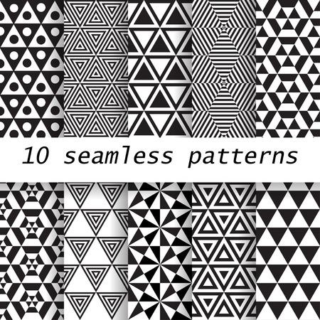 10 in bianco e nero vettore modelli senza soluzione. tessitura Endless può essere utilizzato per carta da parati, riempimenti a motivo, sfondo della pagina web, Archivio Fotografico - 37267505