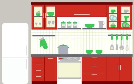 cuisine: Illustration d'une cuisine avec des meubles de cuisine Illustration