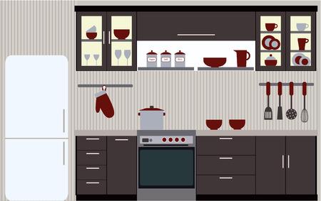 Illustrazione di cucina con mobili da cucina Archivio Fotografico - 38745731