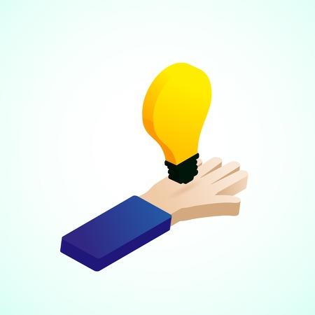 lightbulb: Hand hold idea lightbulb, isometric design Illustration