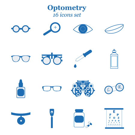 Vector blue optometry 16 icon set. Optician, ophtalmology, vision correction, eye test, eye care, eye diagnostic. Optical set