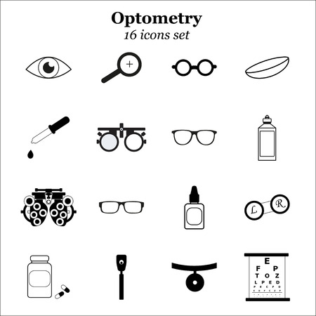 eye test: Vector black optometry 16 icon set. Optician, ophtalmology, vision correction, eye test, eye care, eye diagnostic. Optical set