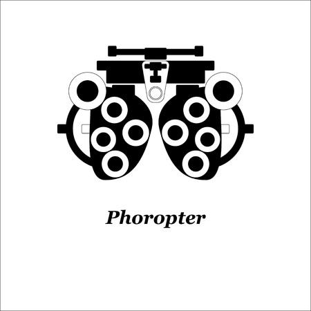 Illustration of phoropter. Vector. Optician, ophtalmology, vision correction, eye test, eye care, eye diagnostic 向量圖像