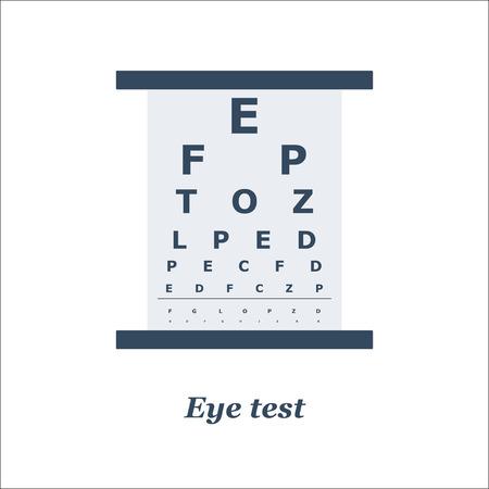 eye test: illustration of Eye test chart. Vector. Optician, ophtalmology, vision correction, eye test, eye care, eye diagnostic Illustration