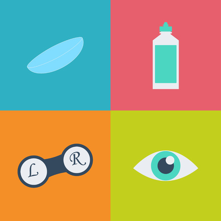see a doctor: Vector black optometry 16 icon set. Optician, ophtalmology, vision correction, eye test, eye care, eye diagnostic. Optical set
