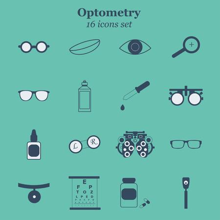 Vector nero optometria 16 set di icone. Ottico, oftalmologia, la correzione della vista, esame della vista, la cura degli occhi, degli occhi diagnostica. set Optical Archivio Fotografico - 61928779