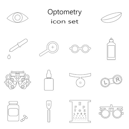 Vector black optometry 16 icon set thin line style. Optician, ophtalmology, vision correction, eye test, eye care, eye diagnostic. Optical set