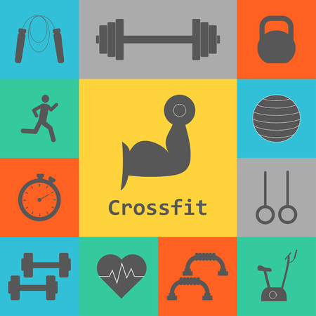 Vector Set of Crossfit Icons. Sport, fitness, gym workout. Crossfit workout 向量圖像