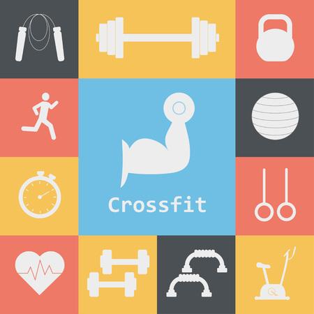 Vector Set di icone Crossfit. Sport, fitness, lavoro in palestra. allenamento Crossfit Archivio Fotografico - 65143056
