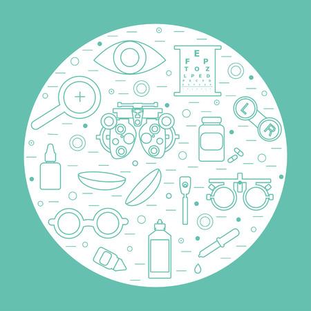 Vector optometria concetto rotonda. Ottico, oftalmologia, la correzione della vista, esame della vista, la cura degli occhi, degli occhi diagnostica. set Optical Archivio Fotografico - 65143445