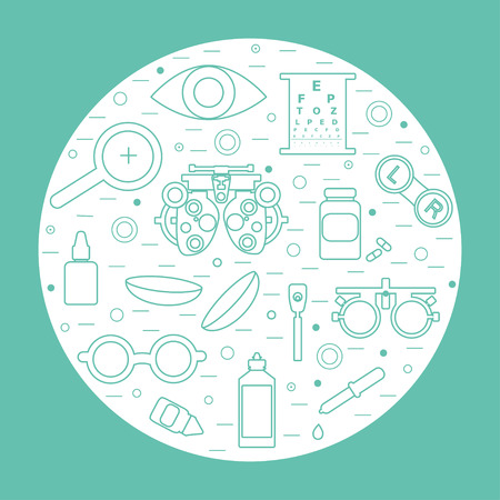 optometry: Vector optometry round concept. Optician, ophtalmology, vision correction, eye test, eye care, eye diagnostic. Optical set