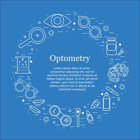 Vector optometria concetto rotonda. Ottico, oftalmologia, la correzione della vista, esame della vista, la cura degli occhi, degli occhi diagnostica. set Optical Archivio Fotografico - 65143474