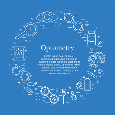 Vector optometry round concept. Optician, ophtalmology, vision correction, eye test, eye care, eye diagnostic. Optical set