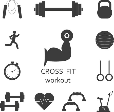 Vector Set of gym workout icons. Sport, fitness, gym workout 向量圖像