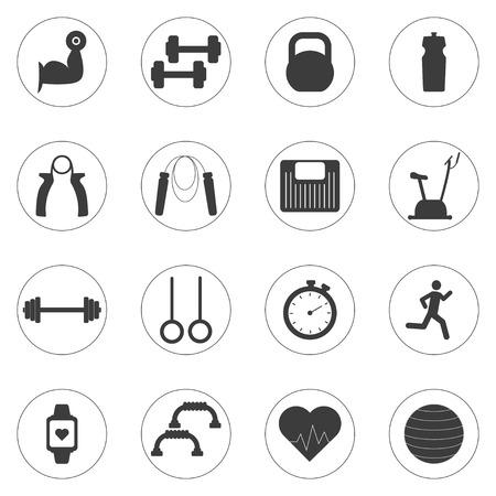 Vector Set di icone di allenamento in palestra. Sport, fitness, lavoro in palestra Archivio Fotografico - 66582579