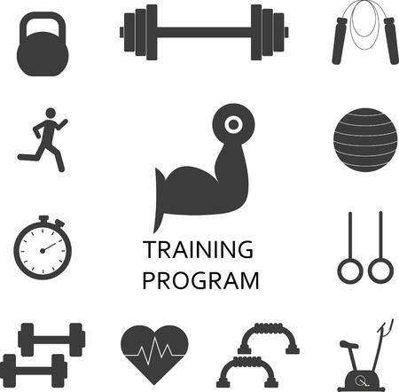 workout gym: Vector Set of gym workout icons. Sport, fitness, gym workout Illustration