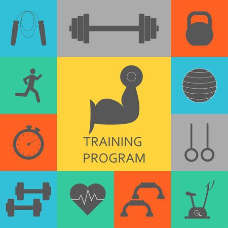 Vector Set di icone di allenamento in palestra. Sport, fitness, lavoro in palestra Archivio Fotografico - 66582585