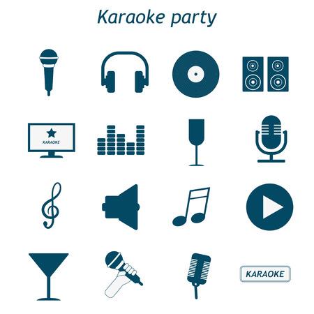 Karaoke party icon set. Karaoke, singing, party