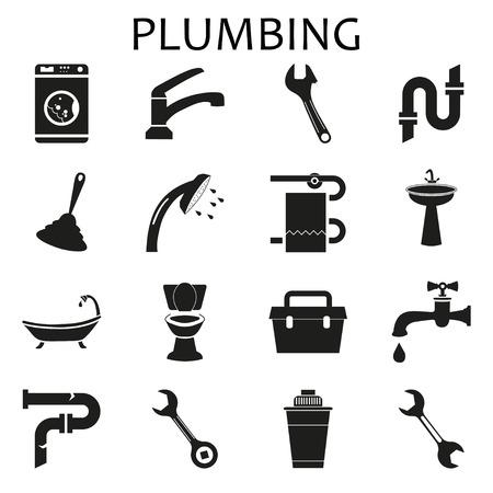 Set black icons of plumbing 向量圖像