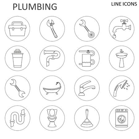 Set line icons of plumbing 向量圖像