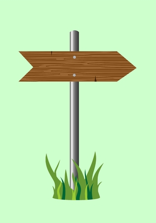 path pathway: wooden road sign Illustration
