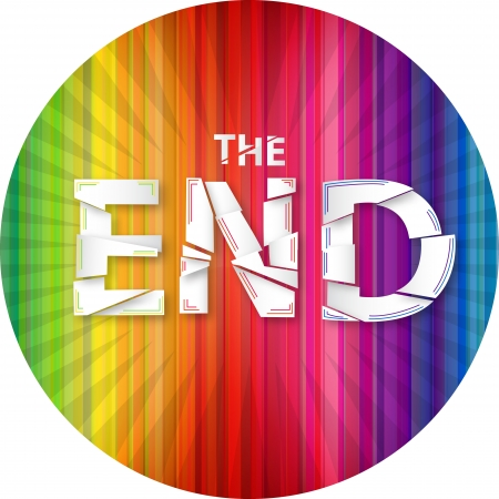Words the end on the rainbow background. Vector