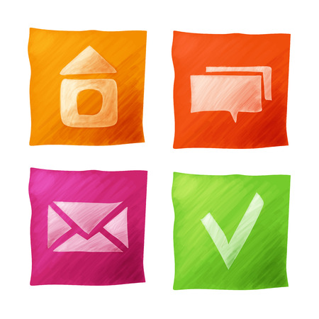 Set of navigation colors icons hand drawing Vector