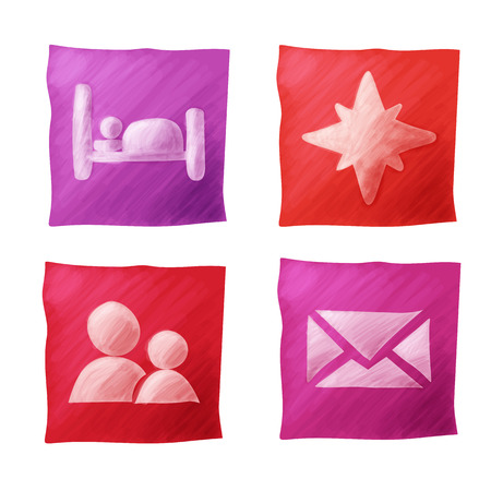 Set of travel pointer color icons hand drawing Vector