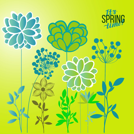 an inflorescence: Vector illustration spring themes. Set of green plants