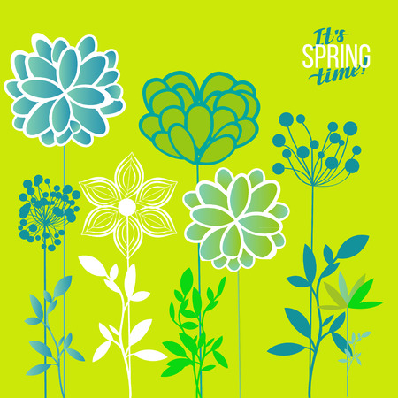 inflorescence: Vector illustration spring themes. Set of green plants
