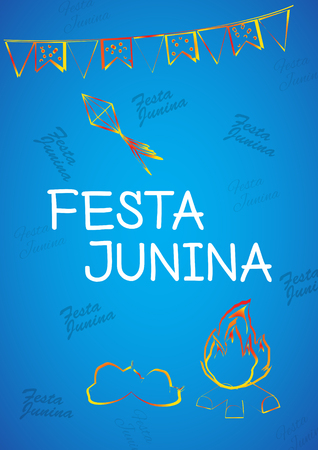 thatched: Festa Junina Brazil Topic Festival. Folklore holiday. Festival fire attributes, hat, flags on a color background.
